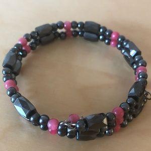 Magnetic Black and Pink Bracelet